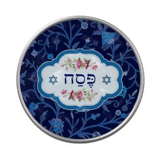 Passover feliz. Shalom en las latas del caramelo d Frascos De Caramelos