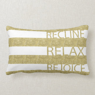 "Passover Gold Pillow ""Recline, Relax, Rejoice"""