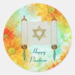 Passover Greetings Classic Round Sticker