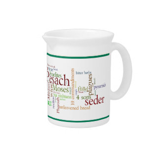 Passover Holiday Words and Symbols Pitcher