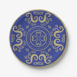 Passover Paper Plate Gold Elegant Pattern