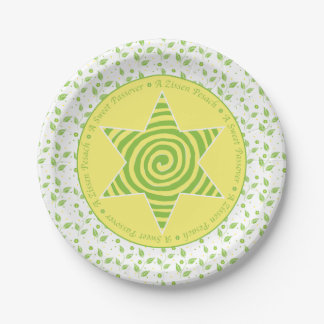 """Passover Paper Plate """"Green/Yellow Leaves Design"""""""
