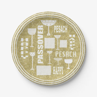 """Passover Paper Plate """"Passover Gold"""" Pattern"""