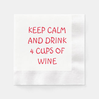 PASSOVER SEDER NAPKINS KEEP CALM AND DRINK 4 CUPS COINED COCKTAIL NAPKIN