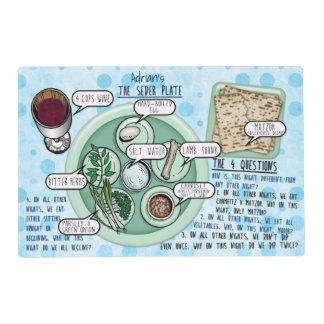 Passover Seder Plate and 4 Questions Personalized Placemat