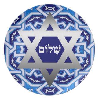 "Passover ""Shalom"" Hebrew Text Seder Plates"