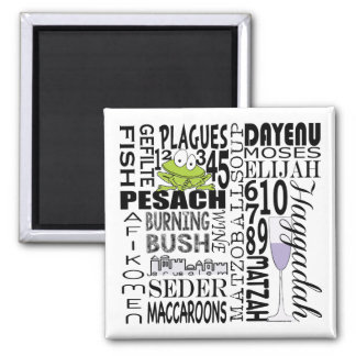 "Passover Square Magnet ""Dayenu and more..."""