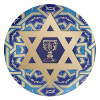 Passover Star of David and Kiddush Cup Design Melamine Plate