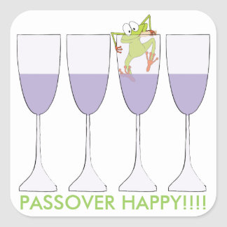 """Passover Sticker Square """"Wine and Frog"""""""