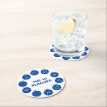 "Passover The 10 Plagues Blue and White Seder Round Paper Coaster<br><div class=""desc"">Fun Passover coasters with ""The 10 Plagues"" for your Passover Seder. In white and blue,  and makes a great hostess gift.</div>"