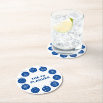 Passover The 10 Plagues Blue and White Seder Round Paper Coaster