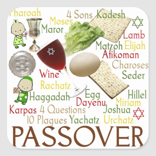 Passover Words and Symbols Square Sticker