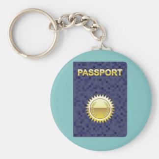 Passport Icon Basic Round Button Keychain