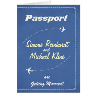 Passport Invitation or Save-the-Date Retro Airline Greeting Card