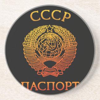 Passport soviet beverage coaster