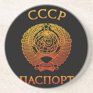 Passport soviet sandstone coaster