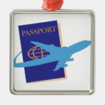 Passport Square Metal Christmas Ornament