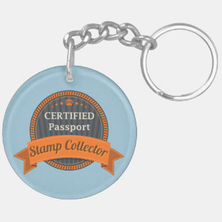 Passport Stamp Collector Double-Sided Round Acrylic Keychain