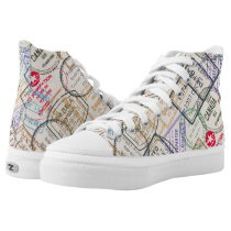 Passport Stamp Pattern High-Top Sneakers