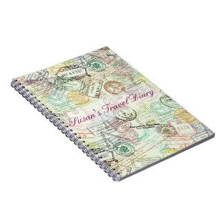 Passport Stamp Print Notebook