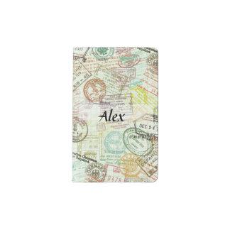 Passport Stamp Print Notebook Cover