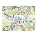 Passport stamp Travel PostCard-Thank you Postcard