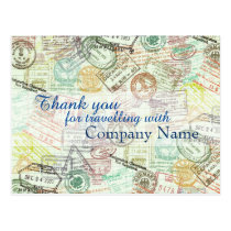 Passport stamp Travel PostCard-Thank you Postcard