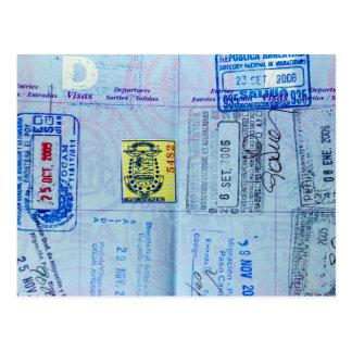 Passport Stamps Closeup Postcard