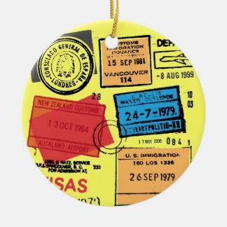 Passport Stamps Design Ornament