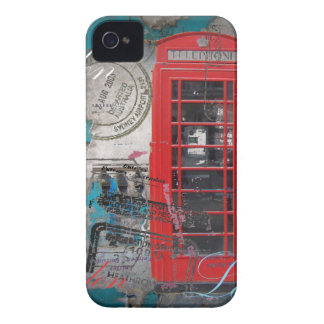 passport stamps London Red Telephone Booth iPhone 4 Case