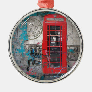 passport stamps London Red Telephone Booth Metal Ornament