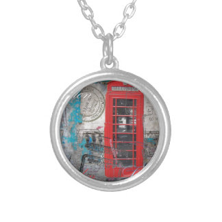 passport stamps London Red Telephone Booth Silver Plated Necklace