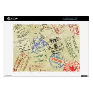 Passport Stamps Skin - Acer Chromebook Decal For Acer Chromebook