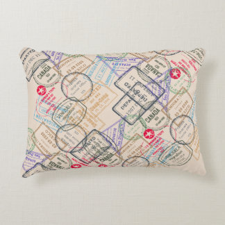 Passport Stamps Travel Accent Pillow