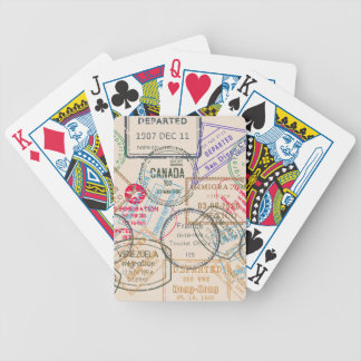 Passport Stamps Travel Bicycle Playing Cards