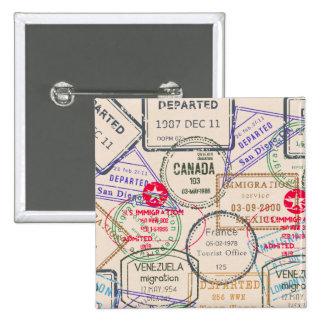 Passport Stamps Travel Pinback Buttons
