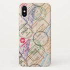 Passport Stamps Travel iPhone X Case