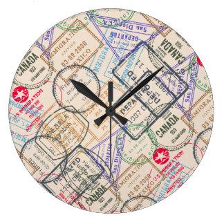 Passport Stamps Travel Large Clock