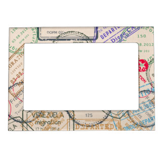 Passport Stamps Travel Magnetic Photo Frame