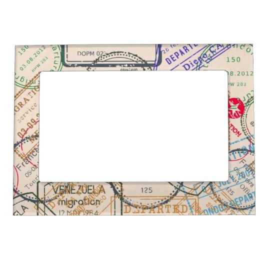 Passport Stamps Travel Magnetic Photo Frame | Zazzle.com