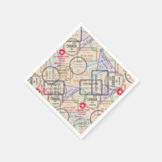 Passport Stamps Travel Paper Napkin