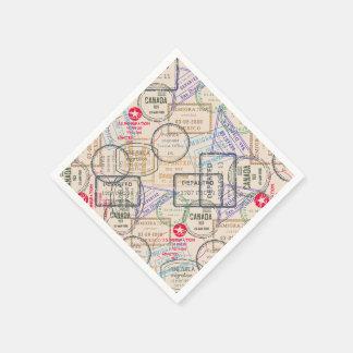 Passport Stamps Travel Paper Napkin