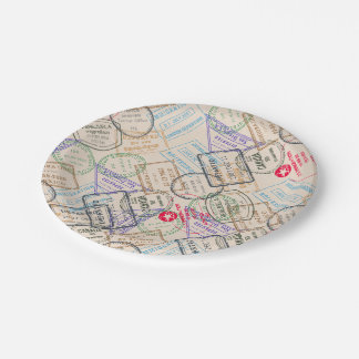Passport Stamps Travel Paper Plate