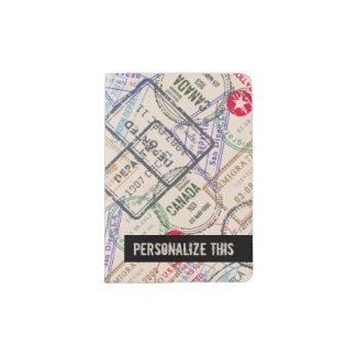 Passport Stamps Travel Pattern Personalized Passport Holder
