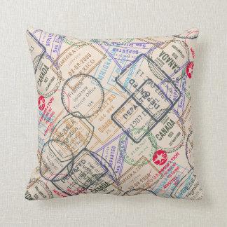 Passport Stamps Travel Throw Pillows