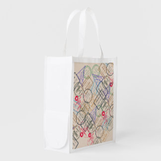 Passport Stamps Travel Reusable Grocery Bags