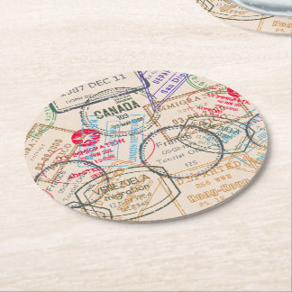 Passport Stamps Travel Round Paper Coaster