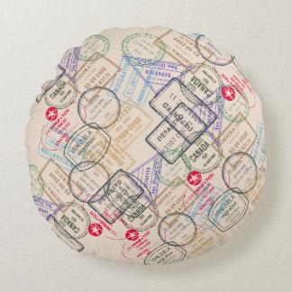 Passport Stamps Travel Round Pillow