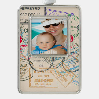 Passport Stamps Travel Silver Plated Framed Ornament