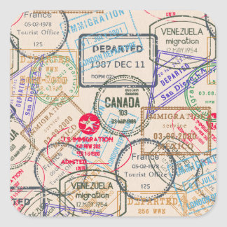 Passport Stamps Travel Square Sticker